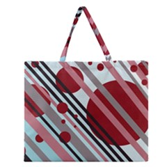 Colorful lines and circles Zipper Large Tote Bag