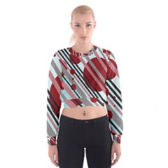 Colorful lines and circles Women s Cropped Sweatshirt
