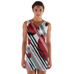 Colorful lines and circles Wrap Front Bodycon Dress