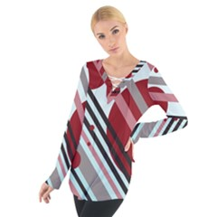 Colorful Lines And Circles Women s Tie Up Tee