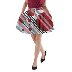 Colorful lines and circles A-Line Pocket Skirt