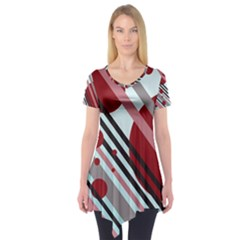 Colorful lines and circles Short Sleeve Tunic