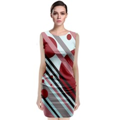 Colorful lines and circles Classic Sleeveless Midi Dress
