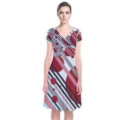 Colorful lines and circles Short Sleeve Front Wrap Dress