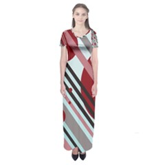 Colorful lines and circles Short Sleeve Maxi Dress