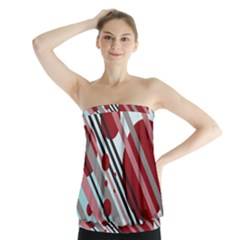 Colorful lines and circles Strapless Top