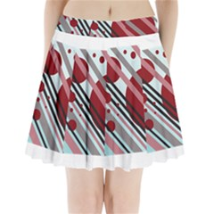 Colorful lines and circles Pleated Mini Mesh Skirt