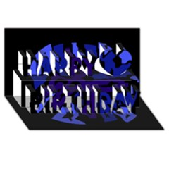 Deep blue abstraction Happy Birthday 3D Greeting Card (8x4)