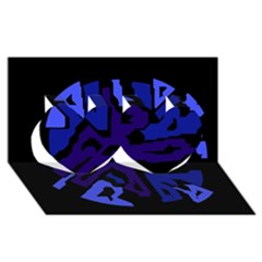 Deep blue abstraction Twin Hearts 3D Greeting Card (8x4)