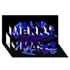 Deep Blue Abstraction Merry Xmas 3d Greeting Card (8x4)