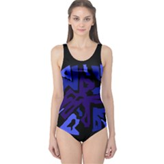 Deep blue abstraction One Piece Swimsuit