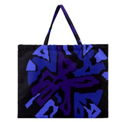 Deep blue abstraction Zipper Large Tote Bag