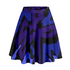 Deep Blue Abstraction High Waist Skirt