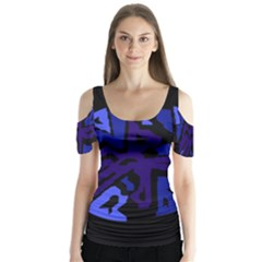Deep blue abstraction Butterfly Sleeve Cutout Tee
