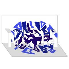 Deep blue abstraction MOM 3D Greeting Card (8x4)