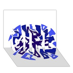 Deep blue abstraction GIRL 3D Greeting Card (7x5)