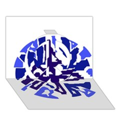 Deep blue abstraction Peace Sign 3D Greeting Card (7x5)