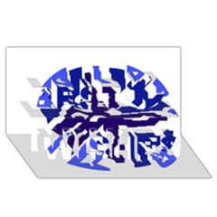 Deep blue abstraction Best Wish 3D Greeting Card (8x4)