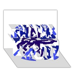 Deep blue abstraction THANK YOU 3D Greeting Card (7x5)