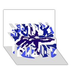 Deep blue abstraction You Did It 3D Greeting Card (7x5)