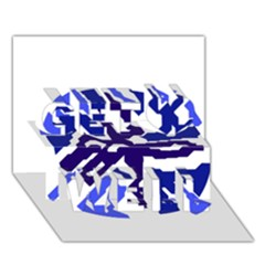 Deep blue abstraction Get Well 3D Greeting Card (7x5)