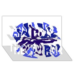 Deep Blue Abstraction Happy New Year 3d Greeting Card (8x4)