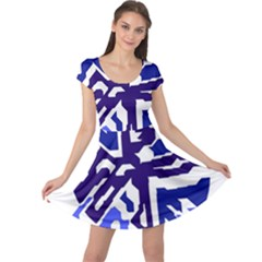 Deep blue abstraction Cap Sleeve Dresses