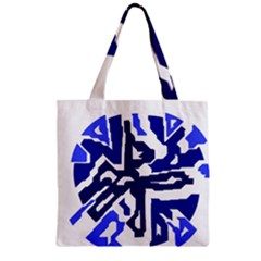 Deep blue abstraction Zipper Grocery Tote Bag