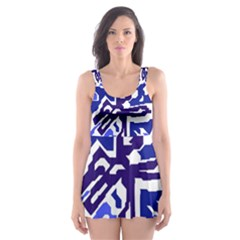 Deep blue abstraction Skater Dress Swimsuit