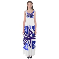 Deep blue abstraction Empire Waist Maxi Dress
