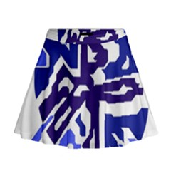 Deep blue abstraction Mini Flare Skirt