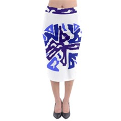 Deep blue abstraction Midi Pencil Skirt