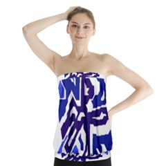 Deep Blue Abstraction Strapless Top