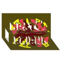 Abstraction Best Friends 3D Greeting Card (8x4)