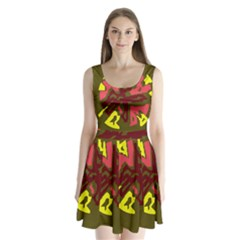 Abstraction Split Back Mini Dress