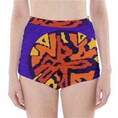 Orange ball High-Waisted Bikini Bottoms