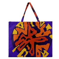 Orange Ball Zipper Large Tote Bag
