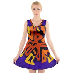 Orange ball V-Neck Sleeveless Skater Dress