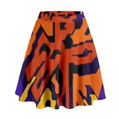 Orange ball High Waist Skirt