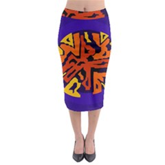 Orange ball Midi Pencil Skirt