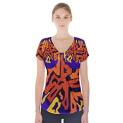 Orange ball Short Sleeve Front Detail Top