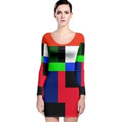 Colorful abstraction Long Sleeve Velvet Bodycon Dress