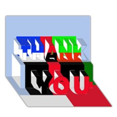 Colorful abstraction THANK YOU 3D Greeting Card (7x5)