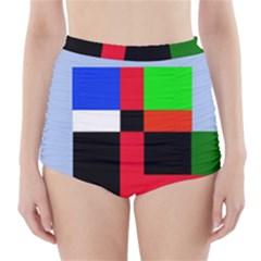 Colorful abstraction High-Waisted Bikini Bottoms