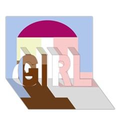 Colorful abstraction GIRL 3D Greeting Card (7x5)