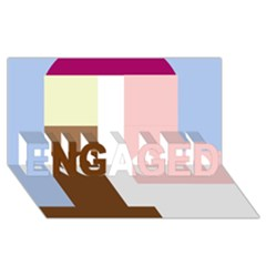 Colorful abstraction ENGAGED 3D Greeting Card (8x4)