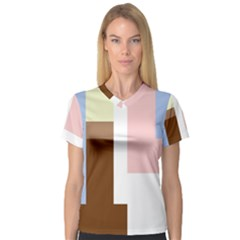Colorful Abstraction Women s V Neck Sport Mesh Tee