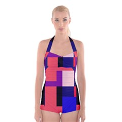 Colorful Abstraction Boyleg Halter Swimsuit