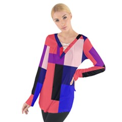 Colorful abstraction Women s Tie Up Tee