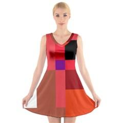 Colorful Abstraction V Neck Sleeveless Skater Dress